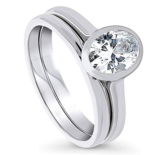 BERRICLE Rhodium Plated Sterling Silver Solitaire Engagement Wedding Ring Set Made with Swarovski Zirconia Oval Cut 1.21 CTW Size 9