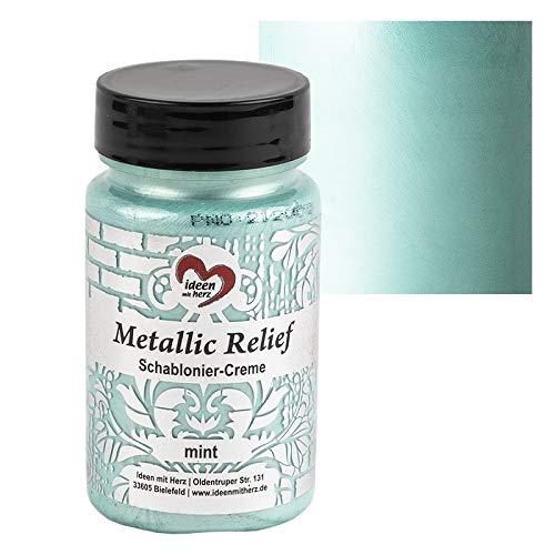 Ideen mit Herz Schablonier-Creme Metallic Relief | feine Strukturpaste | Schablonierfarbe | Schablonierpaste | 90 ml | auf Wasserbasis (Mint)