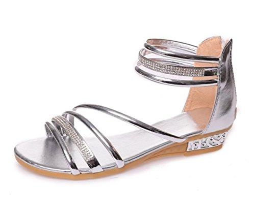 YC Sexy Mujeres Cómodo Zapatos de Tacón Bajo Sandalias Oro Plata Glitter Zapatos de Verano Mujer Moda Rhinestone Sandalias Gladiador, color Plateado, talla 37.5 EU