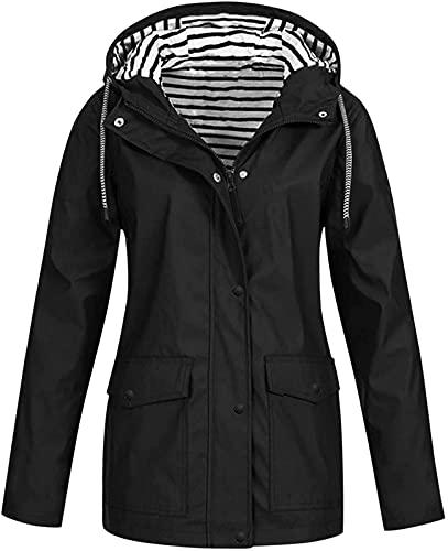 DFLYHLH Chaquetas de lluvia de talla grande para mujer, abrigo de lluvia ligero al aire libre con capucha cortavientos impermeable chaqueta Outwear, Negro, XXXL