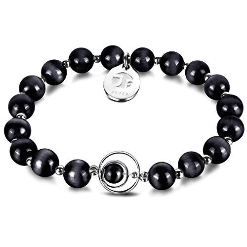 Armband Frauen, JOXFA Katzenauge-Stein Perlen armbänder Damen Natürliche Edelstein Freundschafts Perlenarmband für Mädchen mit Elastisches Kette | Damen Schmuck Geschenk (09)
