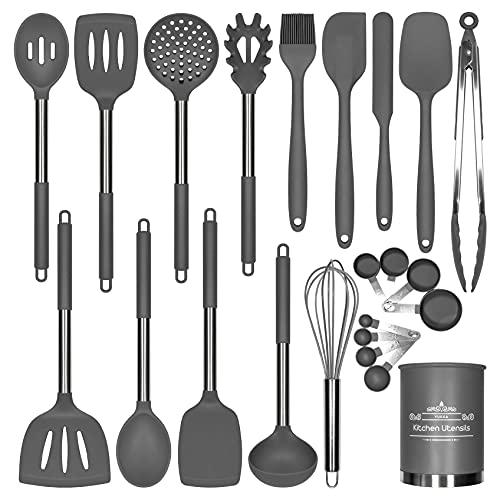 Silikon-Kochutensilien-Set, 23-teilig, Edelstahl-Griffe, Antihaft, BPA-frei, Anti-Kratzer, Metallspatel, Messbecher und Löffel, Küchenhelfer, beste Küchenhelfer, grau
