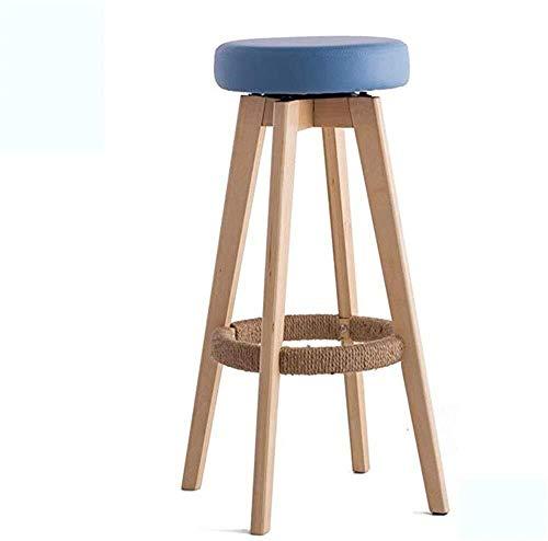 WSHFHDLC Design classico sgabello bar sedie, seggioloni, sgabello da bar in legno, moderno e semplice stile europeo sedia sedia Home bar sgabello (colore : Blu, Dimensioni: 45 * 45 * 65,5 cm)