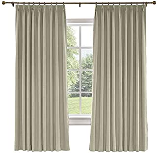 CosyPages Pinch Pleated, 120W x 84L(1 Panel) Luxury Linen Polyester Window Drapery Curtain, Blackout Curtain, Grey Beige, Curtain for Sliding Glass Door Patio Door Living Room