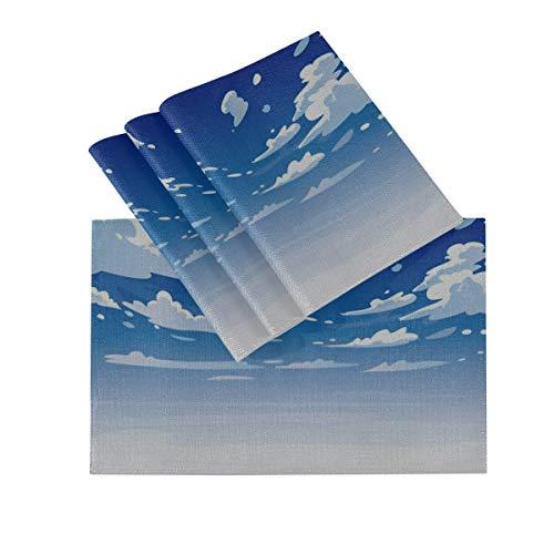 Juego de manteles individuales de 4, tapetes lavables con aislamiento termico, Vector dia paisaje cielo nubes limpias 18 x 12 pulgadas tapetes de mesa de cocina mantel individual para mesa de comedor