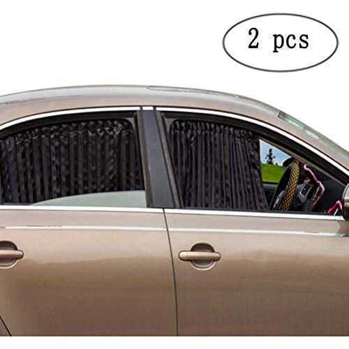 ZATOOTO Car Side Window Sun Shade - Magnetic Privacy Sunshades Window Curtain Keeps Cooler Screen for Baby Sleeping Black (2 Pcs)