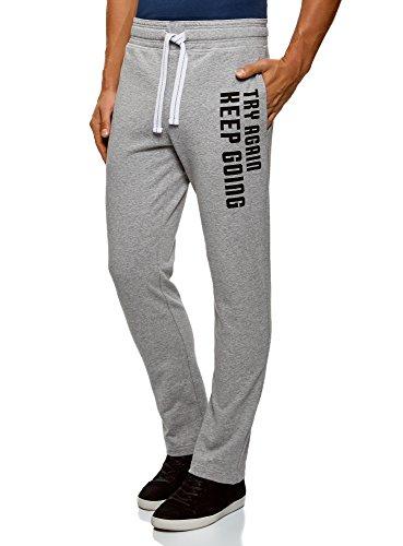 oodji Ultra Men's Jersey Trousers with Drawstrings, Grey, US 36 / XL