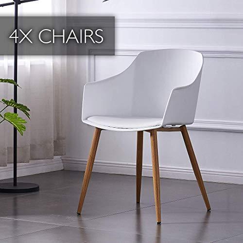 P&N Homewares - Set di 4 sedie, Design scandinavo Bianco, braccioli, Sala da Pranzo, Cucina, Soggiorno, Camera Eden