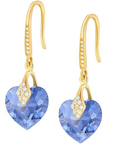 Crystals&Stones – Orecchini a forma di cuore in argento 925 placcato oro 24 K – zaffiro – Orecchini con cristalli Swarovski – Bellissimi orecchini da donna – Orecchini con scatola regalo