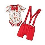 IBAKOM - Pelele de manga corta para bebé o niño, algodón, diseño de balón de colores, Rojo Navidad., 9-12 Meses