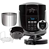 NUWAVE DUET Pressure Air Fryer includes Nuwave Cooking Club App, Combo Cook Technology, Removable Pressure and Air Fry Lids, 6QT Stainless Steel Pot, Stainless Steel Reversible Rack & 4 Quart Non-Stick Air Fryer Basket; Built-in Sure-Lock Safety Technology, Air Fry, Sear, Pressure Cook, Slow Cook, Grill, Steam, Bake, Roast, Dehydrate & Saute.