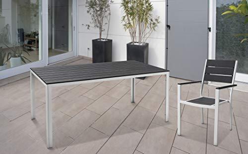 Mesa de estilo vintage 78 x 78 x 74 (altura) cm Papillon ACC. Blanco listones PVC gris