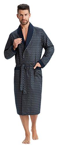 LEVERIE - Abrigo para Hombre Azul Oscuro con Estampado. 4X-Large