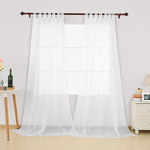 Deconovo Home Decorations Semi Transparent Curtain Voile Panels Back Tab Top Curtains Voile Sheer Curtains for Window 55 x 54 Inch White TWO Panels