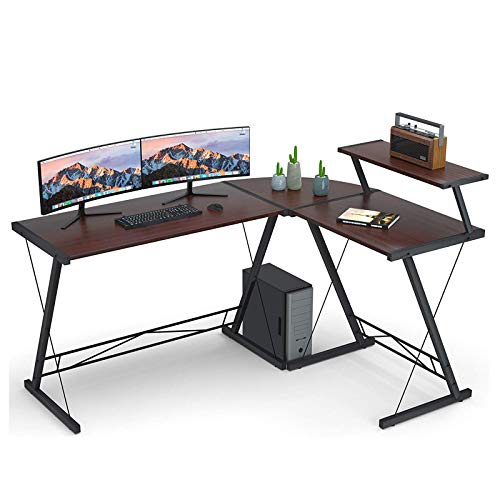L Shaped Mesa De Computadora Hogar Escritorio De Oficina con Redonda con Grande Monitor Soporte Mesa De Computadora Portatil para Hogar Oficina Estación-Rojo Un