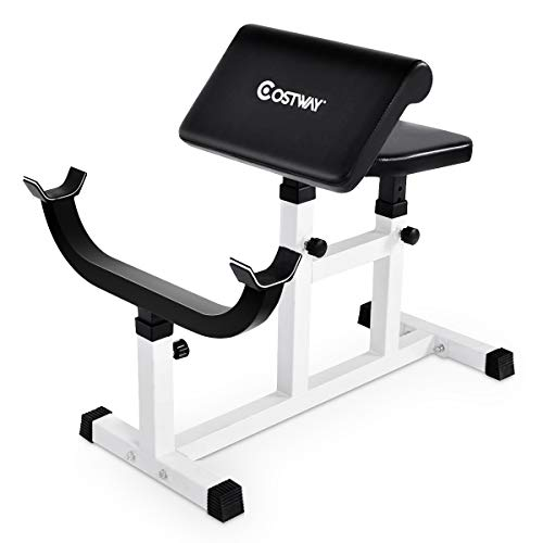 Goplus Preacher Curl Weight Bench Seated Arm Isolated Barbell Dumbbell Biceps Station (White)