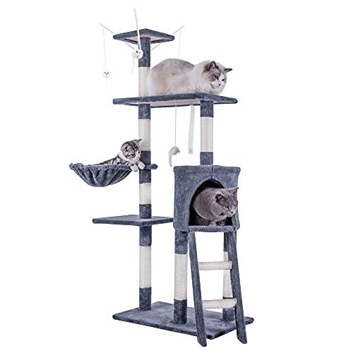 HOMIDEC Katzen Kratzbaum, 145 cm Katzenbaum Kletterturm, Kletterbaum Aktivitätskratzbäum mit Katzenspielzeug, Katzenhöhle, Liegemulde, Plattformen, Leiter & Sisal-Stämme für Katzen Kätzchen, Grau
