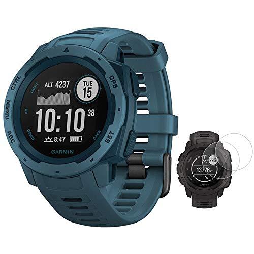 Garmin Instinct - Reloj resistente para exteriores con GPS y monitor de frecuencia cardíaca, color azul (010-02064-04) con protector de pantalla Deco Essentials Instinct