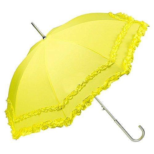 VON LILIENFELD Regenschirm Damen Mode Sonnenschirm Brautschirm Hochzeitsschirm Mary-Poppins-Schirm Automatik Mary mit Rüschen gelb