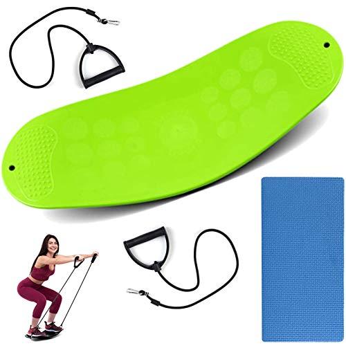 Pateacd Balance Board Twist Yoga Fitness Balance Board Proprioception Ejercicio Tablas deportivas para entrenamiento de equilibrio, fisioterapia, fitness (verde)
