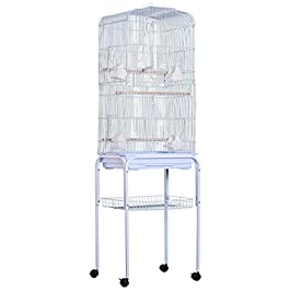 PawHut Large Metal Bird Cage w/ Breeding Stand Feeding Tray Wheels for Parrot Parakeet Macaw Pet Supply Light Blue 47.5L x 37W x 160H (cm)
