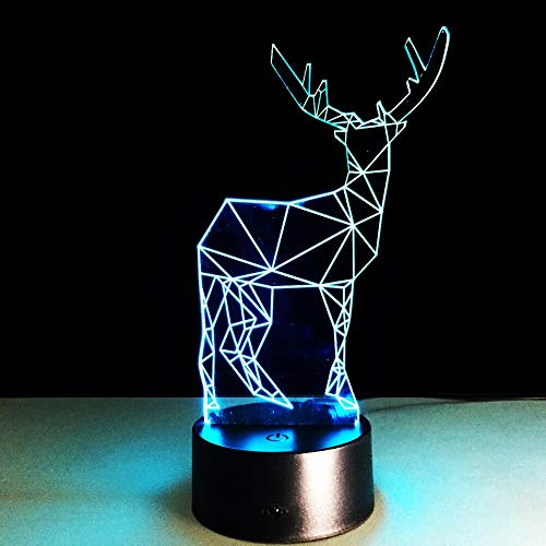 Colorful Three-Dimensional Deer 3D Table Lamp Long Horn Decoration Gadgets LED Lighting Office Home Cafe Lighting | Halloween Gift Colorful Night Light Multicolor