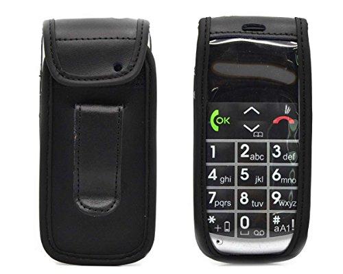 caseroxx Ledertasche mit Gürtelclip für Emporia Talk Comfort/Plus aus Echtleder, Handyhülle für Gürtel (mit Sichtfenster aus schmutzabweisender Klarsichtfolie in schwarz)