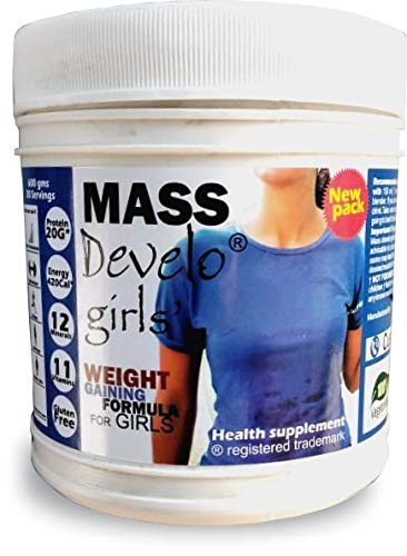Develo Weight Mass Gainer Protein Shake Powder for Fast Gain in women girls, Nutrition Food Supplement, Health Drink with Natural Fat Energy I 27 Vitamins & Minerals I 600gm Vanilla Flavour