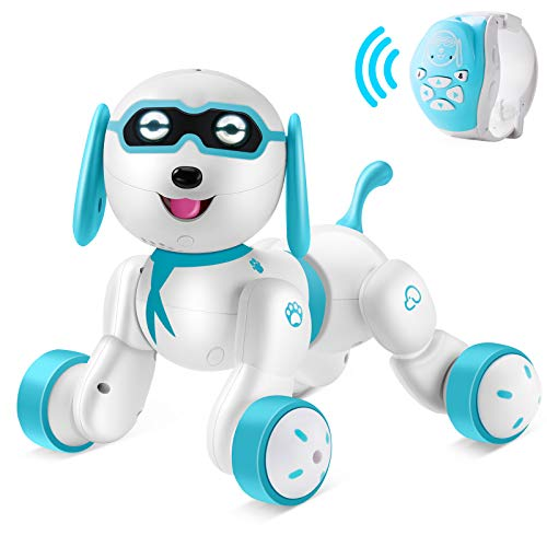 Hamdol Remote Control Robot Dog - RC Robotic Stunt Puppy Smart RC Robot with LED Eyes, Interactive Walking Sing Story Telling Electronic Dog Pets Best Christmas Dog Gift for Kids Boys & Girls