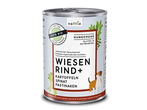 naftie Bio Hundefutter Wiesen Rind+ | Premium Nassfutter Menü mit Rindfleisch, Kartoffeln, Spinat & Pastinaken | Getreidefrei | Glutenfrei | purinarm | Diät-Futter | 400 g Dose
