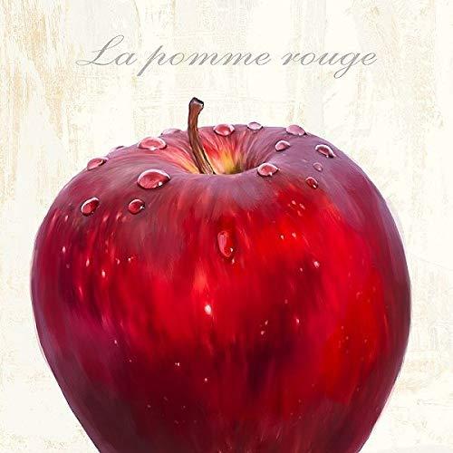 Rahmen-Kunst Keilrahmen-Bild – Remo Barbieri: La Pomme Rouge Leinwandbild Apfel Obst Früchte...