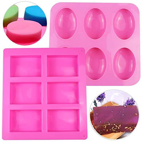 SIMUER - Molde de silicona para 6 cavidades, forma ovalada rectangular, forma de jabón, molde para tartas, molde para galletas, chocolate, 2 unidades, color rosa