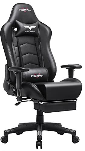 Ficmax Gaming Stuhl Ergonomischer Computer Spielstuhl Racing Stil E-Sports stuhl mit Massage Lordosenstütze, PU leder Reclining Computerstühle, Gamer Stühle mit Ausziehbarem Fußraste (schwarz)