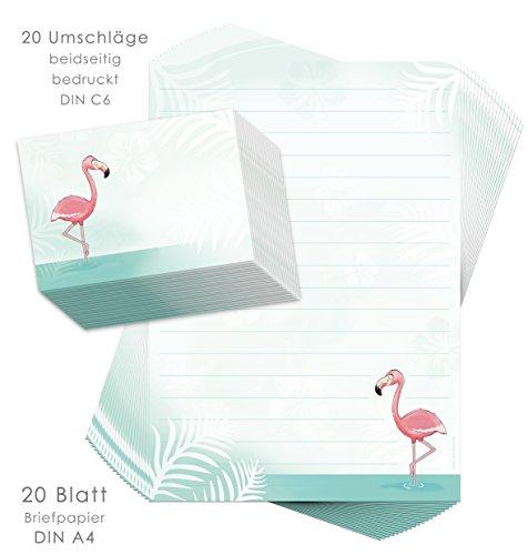 Briefpapier-Set für Kinder FLAMINGO 20 Blatt DIN A4 mit Linien inkl. 20 bedruckte Umschläge/Briefpapier für Kinder/Briefpapierset Kinder/Briefpapier Mädchen