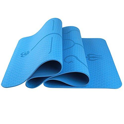 ETbotu Esercizio Fisico 6mm Multifunzionale Protezione Ambientale Yoga Pad TPE Yoga Mat Fitness Pad Linea Body Style Lake Blue 183 * 61 * 0.6 Body Position Line