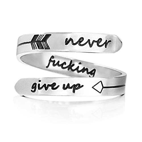Laser Power Adjustable Stainless Steel Silver Never give up Ring Inspirational Opening Stacking Cute Hiphop Bands