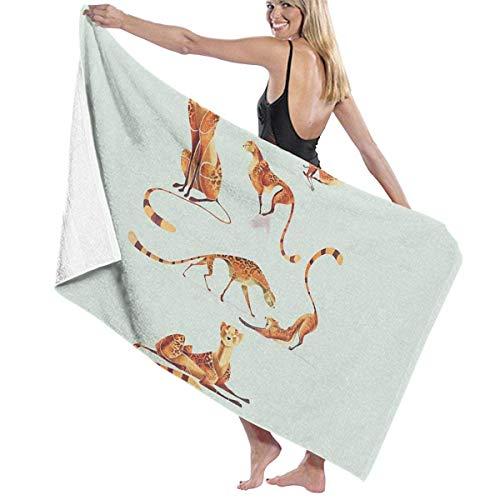 jhgfd7523 Cheetah Poses Toalla de baño de microfibra, toalla de playa, toalla de secado rápido para viajes, natación, piscina, yoga, camping, gimnasio