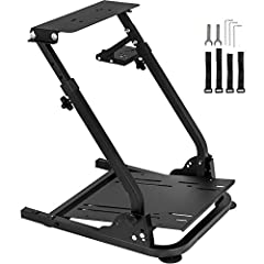 Racing Cockpit Material:It consists of a steel box tube, which is very strong. The combination of rubber feet and steel tubes provides a smooth driving experience. The wheel frame professional version has a smooth painted surface that does not fade, ...