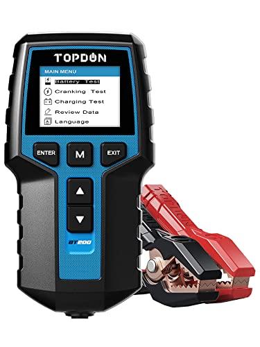 TOPDON BT200 Comprobador de batería de coche 12V / 24V 100–2000 CCA, Medidor de Corriente de Inicio, Probador de Carga de batería, Prueba de Celdas para automóvil, camión, motocicleta y Más