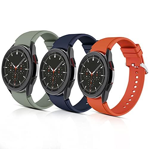 Aukvite 20mm Cinturino per Samsung Galaxy Watch 4 46mm 42mm/Galaxy Watch 4 classico 44mm 40mm, Cinturini di Ricambio per Cinturino Sportivo in Silicone per Uomo Donna (Arancione+Blu+Verde, Grande)