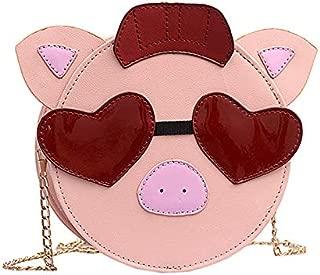 TOOGOO Cute Bag Female Foreign Funny Chain Pig Pig Bag Ugly Cute Shoulder Slung Small Round Bag Black