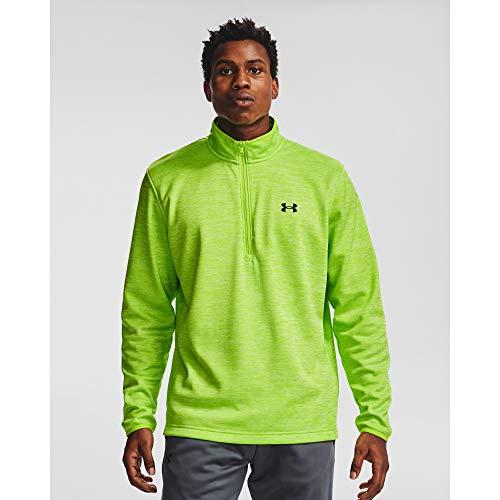 Under Armour Men's Armour Fleece 1/2 Zip T-Shirt, Green Citrine (394)/Black, Medium