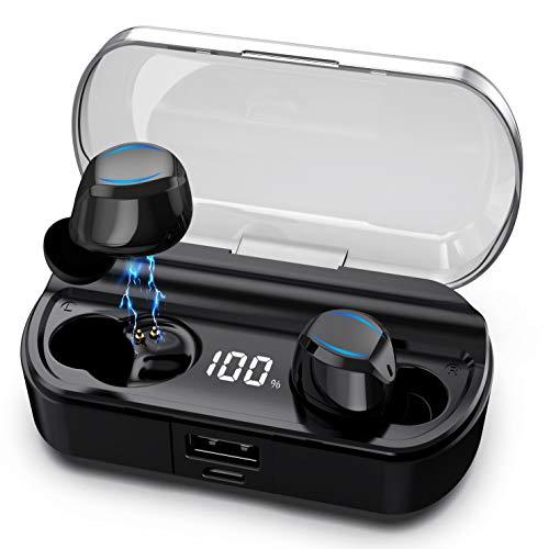Bluetooth Kopfhörer Kabellos,【2020 Neuestes Intelligent Steuerung-T23】Kabellos Kopfhörer in Ear Sport Ohrhörer mit 120 Stunden Spielzeit, mit Mikrofon und Ladekästchen für iPhone Android