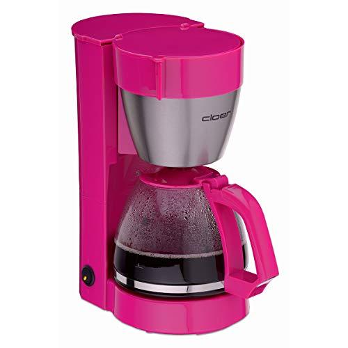 Cloer 5017-1 Filterkaffee-Automat mit Warmhaltefunktion, 800 W, Glaskanne für bis zu 10 Tassen, Filtergröße 1x4, pink, Kunststoff, Edelstahl