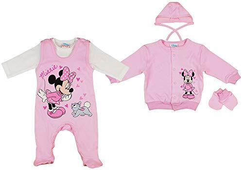 Disney Baby Mädchen Set 5-teiler mit Mütze ärmelloser-Strampler Body Kratzhandschuhe Jacke in Größe 50 56 62 100% Baumwolle Minnie Mouse Erstausstattung Farbe Modell 1, Größe 56
