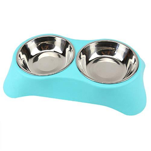 ZSLLO anti-slip bodem roestvrijstalen hondenschalen, hondenvoer drinkschalen voor honden katten huisdier voedsel schaal, hondenschaal, 3 kleuren, 2 maten S Blauw