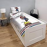 Funda de edredón Super Mario Goomba, color blanco, para niño, 140 x 200 cm, 1 persona, 100 % algodón.