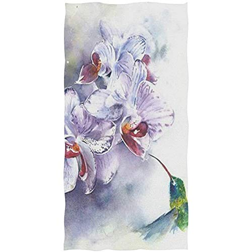 chillChur-DD Bath Towel Colibrí Orquídea Flor Acuarela