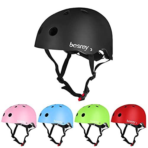 besrey Fahrradhelm Kinder Helmet Kinderhelm CE-Zertifizierung Helm für 3-5 Jahren alt Kinder Junge für Sport wie Fahrrad Scooter Roller Inlineskaten Skateboard -Schwarz
