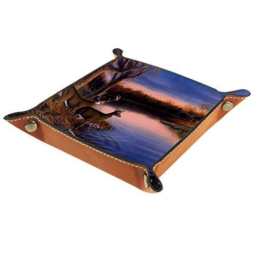 LynnsGraceland Tablett Leder,Hirschsonnenuntergang auf dem Fluss,Leder Münzen Tablettschlüssel für Schmuck,Telefon,Uhren,Süßigkeiten,Catchall-Tablett für Männer & Frauen Großes Geschenk
